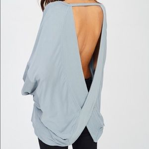 Sweaters - Last 1! Open Back Light Blue Sweatshirt Pullover